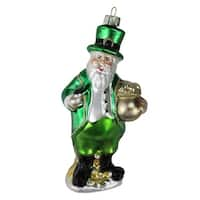 "5"" Luck of the Irish Santa Leprechaun with Pot of Gold Glass Christmas Ornament - Green"