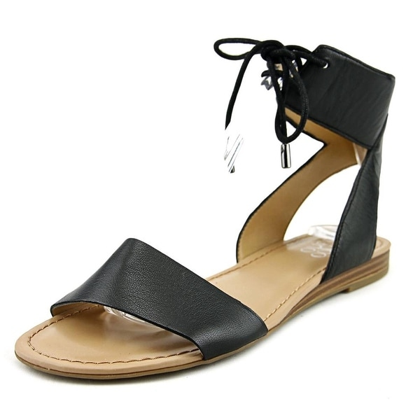 Franco Sarto L-Glenys Women Open Toe Leather Black Sandals