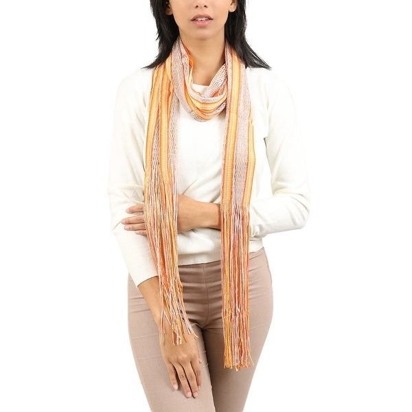 Missoni Gold/Orange Striped Scarf - 14-72. Opens flyout.