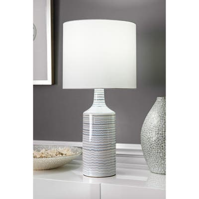 """nuLOOM 28'' Theresa Ceramic Linen Shade Table Lamp - 12""""W x 12""""D x 28""""H"""