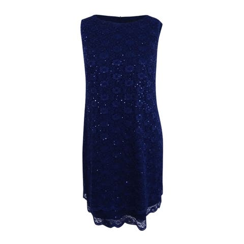 Connected Women's Plus Size Sequined Sheath Dress (24W, Navy) - Navy - 24W