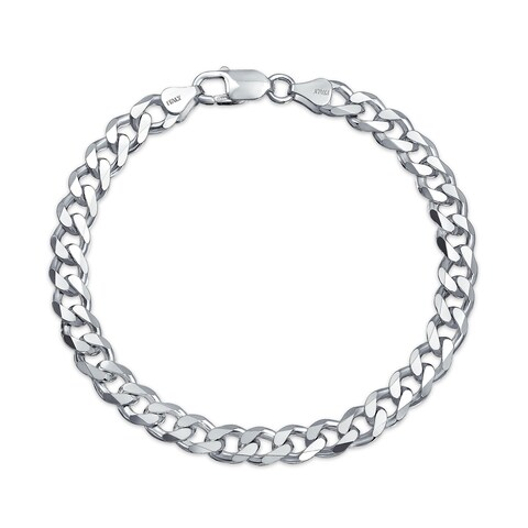 Bling Jewelry Mens Sterling Silver 200 Gauge Curb Link Bracelet 9 Inch