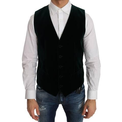 Dolce & Gabbana Green Velvet Formal Cotton Men's Vest - it48-m