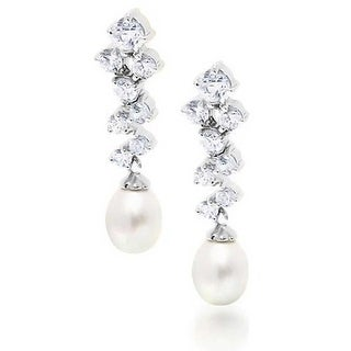 Bling Jewelry 925 Sterling Silver CZ Freshwater Cultured Pearl Bridal Drop Earrings