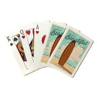 Redondo Beach CA Beautiful Ride Surfboard - LP Art (Poker Playing Cards Deck)
