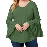 NY Collection Green Womens Size 2X Plus V-Neck Crinkle Blouse