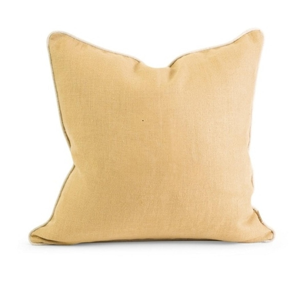 18 Luxurious Pale Yellow Linen Down Square Decorative Throw Pillow