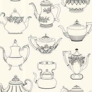 Brewster 347-20120 Valie Black Vintage Teapot Texture Wallpaper