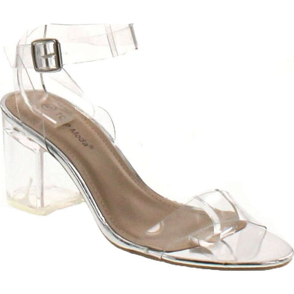 1adac31aa Shop Top Moda Womens Ivan-1 Lucite Clear Strappy Block Chunky High Heel  Open Peep Toe Sandal - Free Shipping On Orders Over  45 - Overstock -  14820225