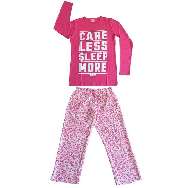 Women Cotton Top & Fleece Lined Pants Pajamas Set (Hot Pink)