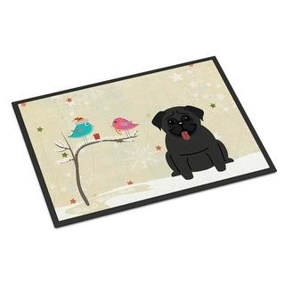 Carolines Treasures BB2478MAT Christmas Presents Between Friends Pug Black Indoor or Outdoor Mat 18 x 0.25 x 27 in.