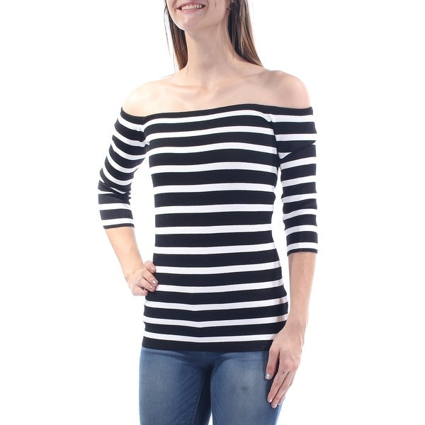 6e9527ceceda Shop RACHEL ROY Womens Black Striped 3 4 Sleeve Off Shoulder Top Size  S -  On Sale - Free Shipping On Orders Over  45 - Overstock - 21263748