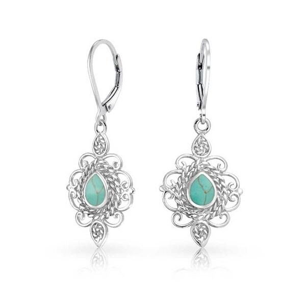 925 Silver Teardrop Lab Created Turquoise Leverback Earrings
