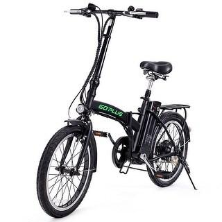 Goplus 20''250W Folding Electric Mountain Bicycle EBike Speed Lithium Battery Blac - Black