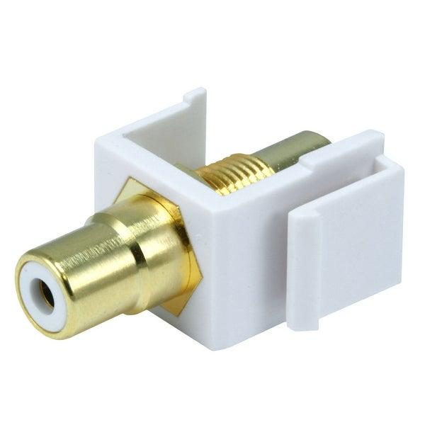 Monoprice Modular RCA Coupler Keystone Jack w/White Center - White