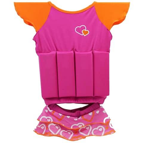"16"" Pink and Orange Hearts Float Shorty Swim Vest Set"
