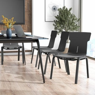 Link to Furniture of America Mercer Black Stackable Office Chairs (Set of 4) Similar Items in Office & Conference Room Chairs