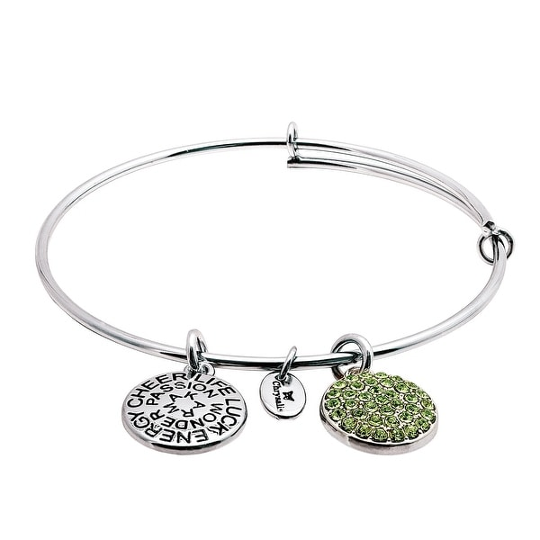 Chrysalis Expandable August Bangle Bracelet with Light Green Swarovski elements Crystal in Rhodium-Plated Bra