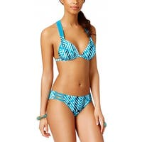 Hula Honey Womens After Shock Printed Two Piece Set Swimsuit X-Large XL Blue