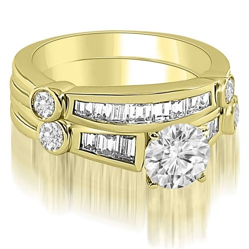 1.80 cttw. 14K Yellow Gold Antique Round And Baguette Cut Diamond Bridal Set