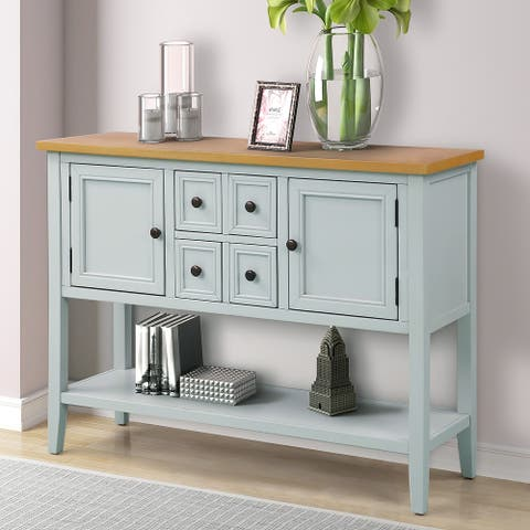 Cambridge Series Buffet Sideboard Console Table with Bottom Shelf - Lime White