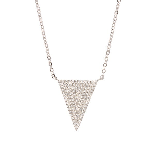 Cubic Zirconia & Sterling Silver Filled Triangle Pendant Necklace
