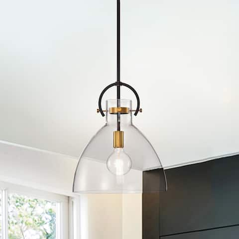 Oil Rubbed Bronze and Antique Gold 1-Light Clear Bowl Glass Pendant