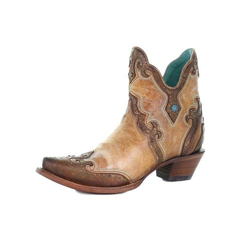 """Corral Western Boots Womens 4 1/2"""" Shaft Ankle Toe Embroidered"""