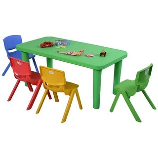 Costway Kids Plastic Table And 4 Chairs Set Colorful Play School Home Fun  Furniture