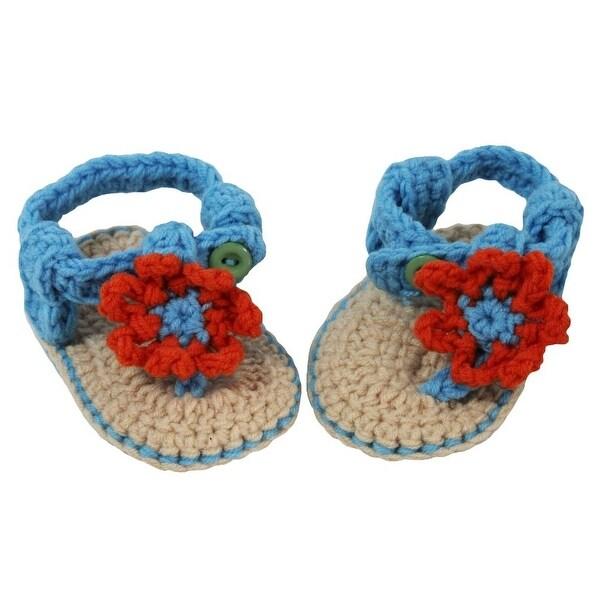 Baby Girls Blue Orange Tan Daisy Flower Crochet Soft Sole Crib Sandals 0-3M