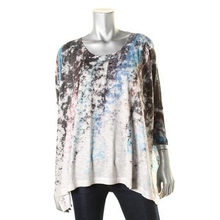 Nally & Millie Womens Pullover Top Knit Printed