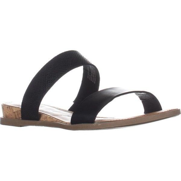 AR35 Easten Flat Two Strap Sandals, Black