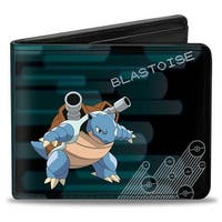 Blastoise Pose Pok Ball Rays Blues Black Blues Gray Bi Fold Wallet - One Size Fits most
