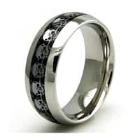 Stainless Steel Carbon Fiber Skull Inlay Ring