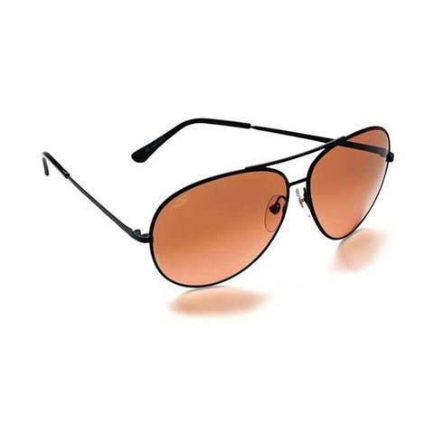 Serengeti Aviator Sunglasses (Large / Matte Black Frame / Brown Gradient Lenses)