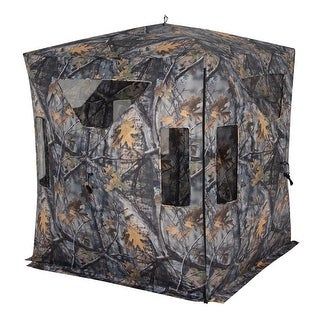Goplus Portable 3 Person Pop Up Ground Hunting Blind Stool Set Camo Mesh Waterproof