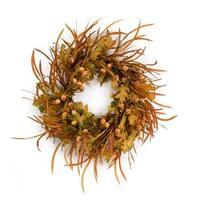 "Set of 2 Brown and Green Decorative Autumn Artificial Oak Leaf Grass Wreath 32"""