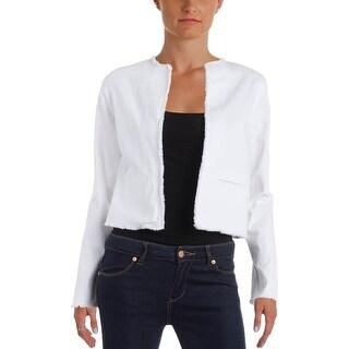 Lauren Ralph Lauren Womens Denim Jacket Frayed Hem Long Sleeves