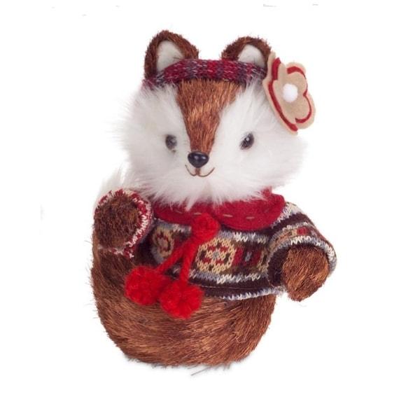 "9"" Country Cabin Sisal Mrs. Fox Wearing Knit Sweater & Headband Christmas Decoration"