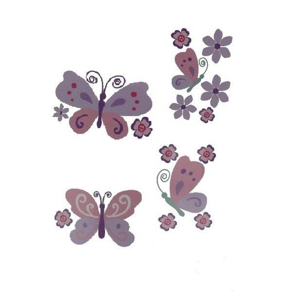 "shop babies""r""us wall decal set butterfly/floral baby girls - free"