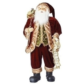 "36"" Burgundy Santa Claus Christmas Figure with List and Green Vest"