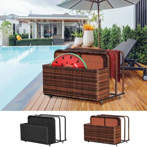 Outsunny Outdoor Patio Rattan Storage Basket Compartments Storage Box Furniture for Patio Living Room Bedroom & Pool Accessories