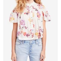 Free People White Ivory Womens Size Small S Floral Button Down Top