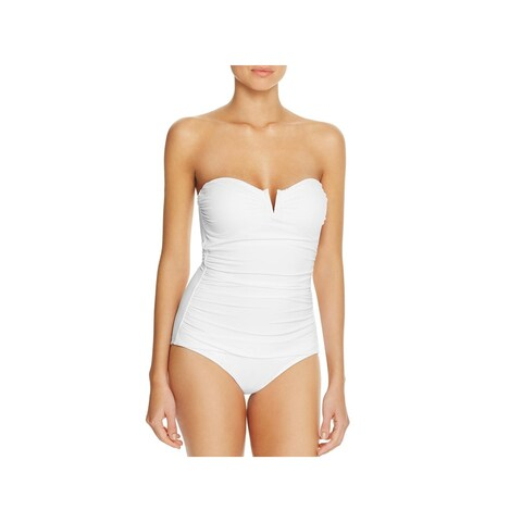 Tommy Bahama Womens Ruched Tummy Control One-Piece Swimsuit