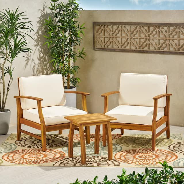Perla Outdoor Acacia Wood 3-piece Outdoor Seating Set by Christopher Knight Home - Cream