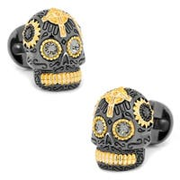 Black and Gold Day of the Dead Skull Cufflinks