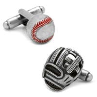 3D Baseball and Glove Antique Silver Cufflinks - Multicolored