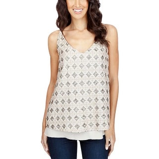 Lucky Brand Womens Tank Top Sequinned Embroidered