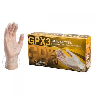 AMMEX GPX3 Clear Vinyl Industrial Latex Free Disposable Gloves (Box of 100)
