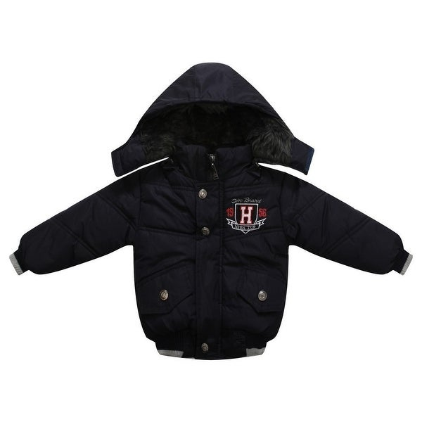 Richie House Baby Boys Blue Badge Embroidery Padded Sport Jacket 12M